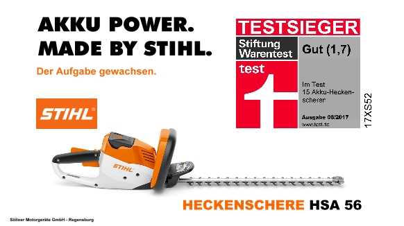stihl hsa 56 akku heckenschere stiftung warentest testsieger. Black Bedroom Furniture Sets. Home Design Ideas